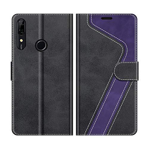 MOBESV Handyhülle für Huawei P Smart Z Hülle Leder, Huawei P Smart Z Klapphülle Handytasche Hülle für Huawei P Smart Z Handy Hüllen, Schwarz/Violett