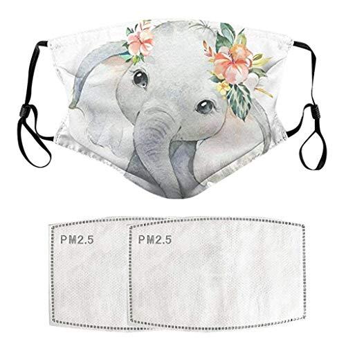 Sayla 1pc Bandana 3D Elefant Schal mit 2pcs Filter Pads, Mundschutz Atmungsaktive Staubdicht Bandana Halstuch schön Mundbedeckung Face Schutz Shield für Damen und Herren