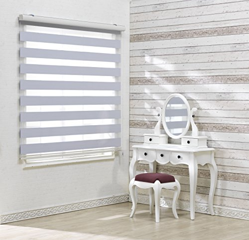 Custom Cut to Size, [Winsharp Blackout Bonita, White, W 49 x H 82 inch] Zebra Roller Blinds, Dual Layer Shades, Sheer or Privacy Light Control, Day and Night Window Drapes, 20 to 110 inch wide
