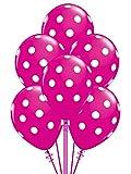 Qualatex Big Polka Dots White/Wild Berry Biodegradable Latex Balloons, 11-Inches (12-Units)