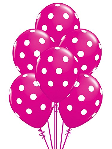 Qualatex Big Polka Dots White/Wild Berry Biodegradable Latex Balloons, 11-Inches (12-Units)