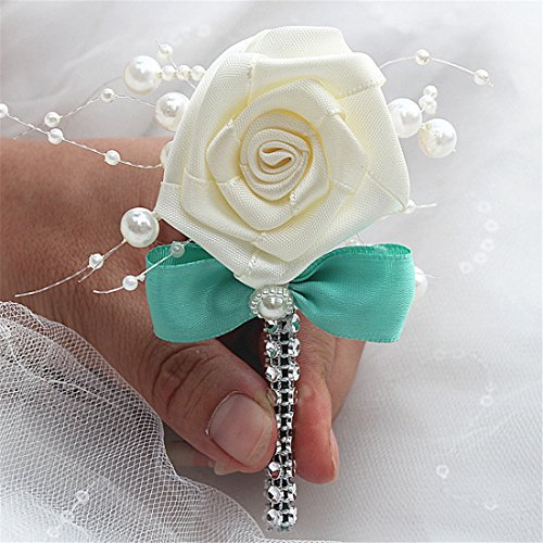 FYSTORE Silk Artificial Boutonniere - Rose Boutonniere with Crystal Pearl for Party (Tiffany Blue, 1 pc)