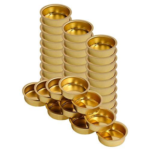 Teelichthalter Messing 40mm tief - Teelicht Tülle für Standard Teelichtkerzen, Größe:40er Set