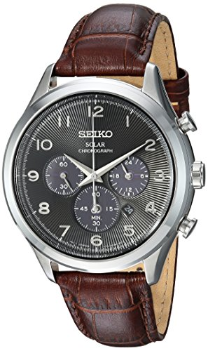 Seiko Men's Solar Chronograph Stainless Steel Japanese-Quartz Watch with Leather Calfskin Strap, Brown, 21 (Model: SSC565)