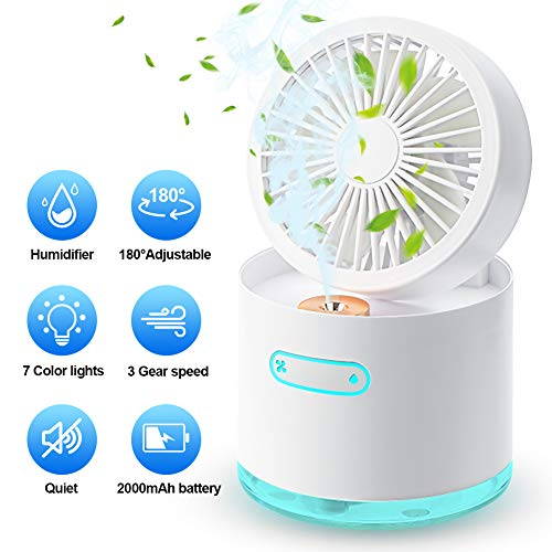 Portable Desk Fan Handheld Misting Fan, ALLYAG Rechargeable Battery Operated Fan with Humidifier Function & 3 Speeds & 180°Adjustable & 7 LED Lights, Personal USB Fan for Home, Office, Outdoors Travel