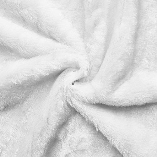 Teddy - Tela (de peluche) sintética - Sedosa y brillante - Por metro (color blanco puro)