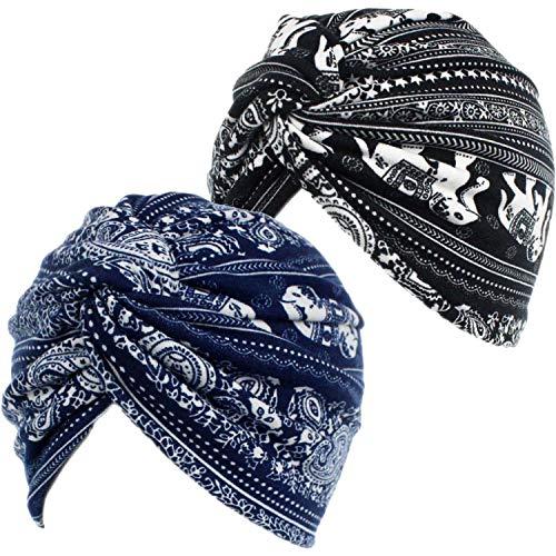 2 Piezas Gorros Turbantes para Mujer Cancer Pañuelos Cabeza Mujer Gorros de Dormir Algodón Elástico Frontal Cruzado Gorro Turbante Pelo Mujer para Pérdida de Pelo (Negro+Marino)