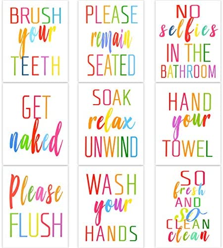 Zonon 9 Pieces Bathroom Wall Decals Funny Bathroom Quote Art Print Bathroom Rules Wall Decor product image