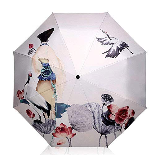 YNHNI Paraguas, Paraguas de protección UV, Paraguas, Paraguas de Las señoras, Paraguas Tri-Doble, Paraguas Sun Sun,Portátil (Color : A)