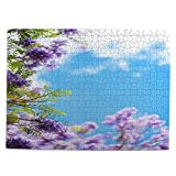 500 Pieces Jigsaw puzzle,flowers jacaranda trees bloom blue sky,Wooden picture puzzle game for adults and kids Artwork for Home Decoration