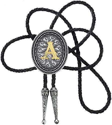 STARBRILLIANT Corbata de bolo negra con inicial vintage de la A a la Z, con cuerda de vacuno, ovalada.