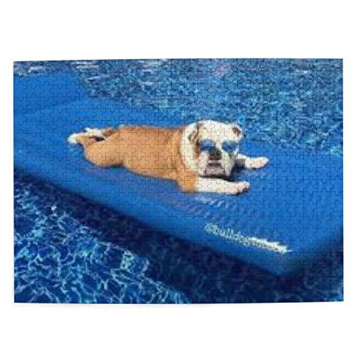 Bulldog inglés con Gafas de Sol para Tomar el Sol, Rompecabezas con imágenes, 500 Piezas de Juego de Madera, Rompecabezas, Adultos, niños, decoración del hogar, 20.4x15