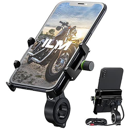 """ILM Motorcycle Phone Mount Aluminum Upgraded USB 3.0 Quick Charge 360° Rotation Bike Holder Accessories Compatible with iPhone 12 XS XR 11 6s 7 Galaxy S10 S8 S20 Holds Phone up to 3.9"""" Wide (Black)"""
