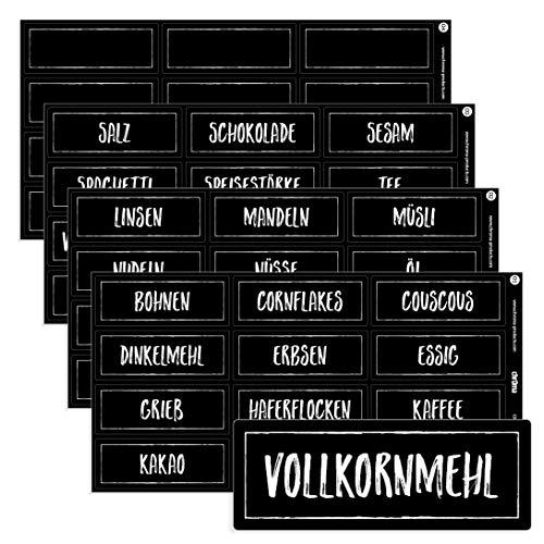 Chroma Products 48 Haushaltsetiketten/Haushaltsaufkleber schwarz für Vorratsdosen - beschriftet, selbstklebend, auch in weiß, 7,0x2,6cm