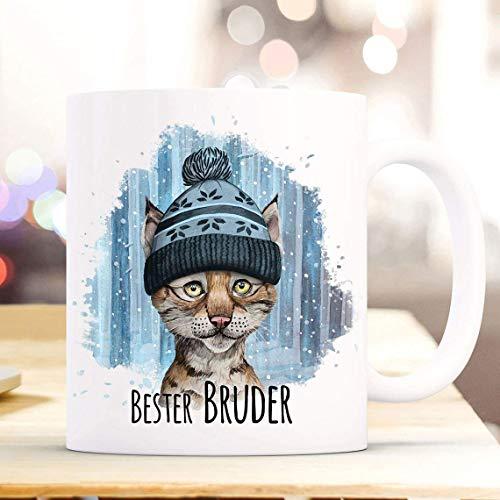 N\A Taza de café Taza de la Taza Lynx en la Nieve con el Decir Taza para Beber de la Taza de los niños Taza de cerámica del Mejor Hermano