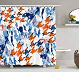 N\A Duschvorhang, klarer Duschvorhang, niedlicher Duschvorhang Hahnentritt Geometrisches Muster Tarnung Hintergr& Camo Badezimmer Set mit Haken Bad Duschvorhang Kleiner Duschvorhang