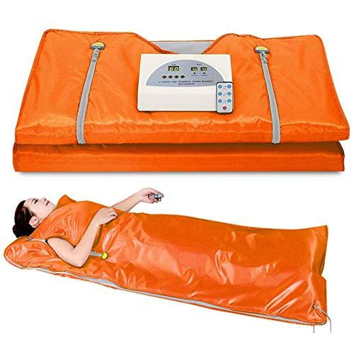 CJF Sauna Manta Versión Mejorada Calefacción Sauna Manta Infrarrojos 2 Controladores De Zona para Reducir El Peso Corporal Delgada Home Productos De Belleza (Naranja)