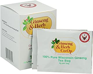 100% Pure Wisconsin American Ginseng Tea Bags. BEST of the BEST Premium Roots Selected - Authenticity Guaranteed with seal. (10 Count).