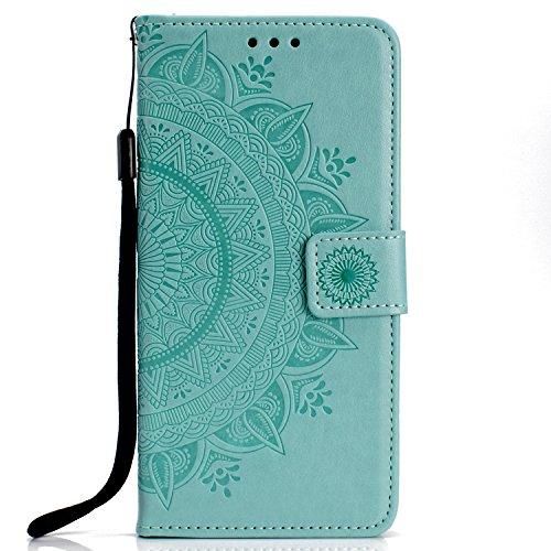 Lomogo OnePlus 6 Hülle Leder, Schutzhülle Brieftasche mit Kartenfach Klappbar Magnetverschluss Stoßfest Kratzfest Handyhülle Case für OnePlus6 - LOHHA11085 Grün