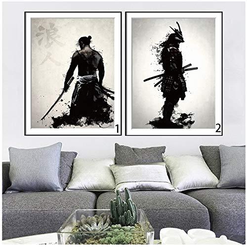 YCCYI Japanische Tinte Leinwand Kunstdruck Poster Samurai Schwarz Weiß Wandkunst Gemälde für Wohnzimmer Dekoration Wohnkultur Bild 20x28 Zoll (50x70cm) x2 Kein Rahmen