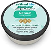 *Do Not Use* Dirty Mouth Organic Toothpowder #1 BEST RATED All Natural Dental Cleanser- Gently Polishes, Detoxifies, Re-Mineralizes, Strengthens Teeth - Natural (1 oz = 3mo Supply)