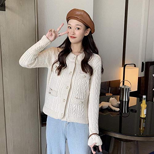 Kvinnor s höst Winter Cardigan Retro ren färg Pearl Buckle tunt lager Nya Loose Korta Stickade Cardigans Hyococ (Color : Beige, Size : One Size)