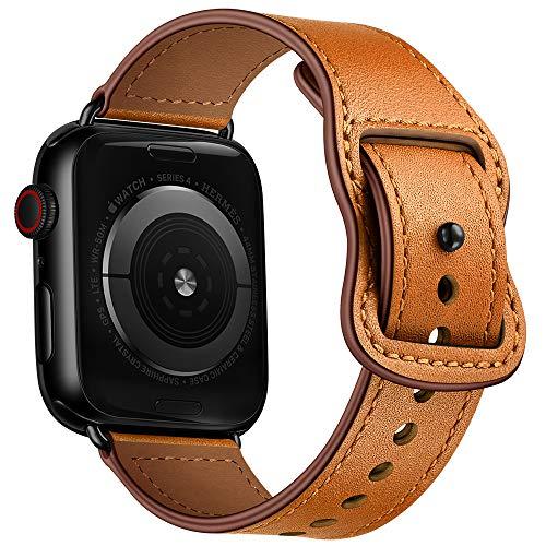 AISPORTS Compatible con Apple Watch Correa de piel de 40 mm y 38 mm para mujeres y hombres, correa de repuesto para Apple Watch SE/iWatch Series 6/5/4/3/2/1