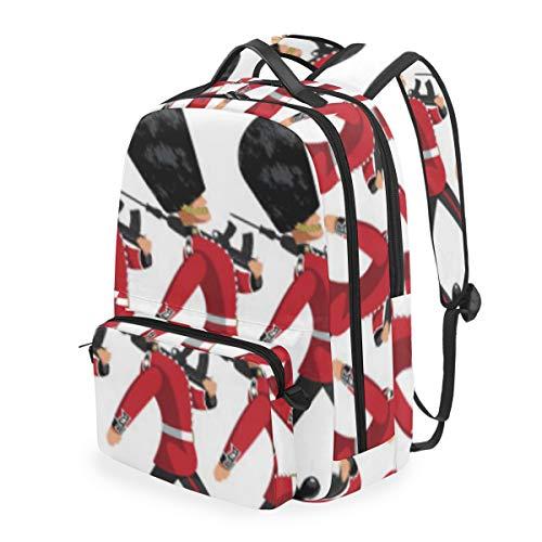 YCHY British Queens Guardsmen Bearskin Hats Marching,Schulrucksack mit abnehmbarem Federmäppchen,2-in-1-Reiserucksack für 15-Zoll-Laptop für Mädchen oder Jungen