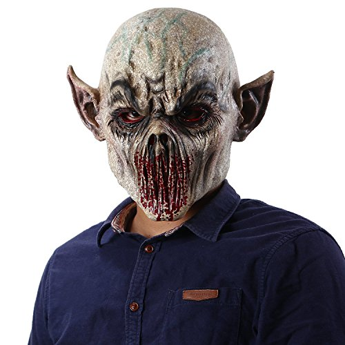 Halloween Horror Bloody Alien Cosplay Scary Zombie Monster Dead Mask Gray