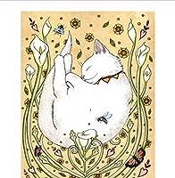 眠っている白猫ジグソーパズル1000個大人の減圧動物風景子供の教育ジグソーパズル