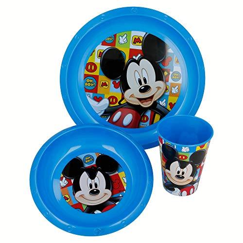 Elemed 19010 Mickey Lot de 3 pièces (Assiette, Bol et gobelet)