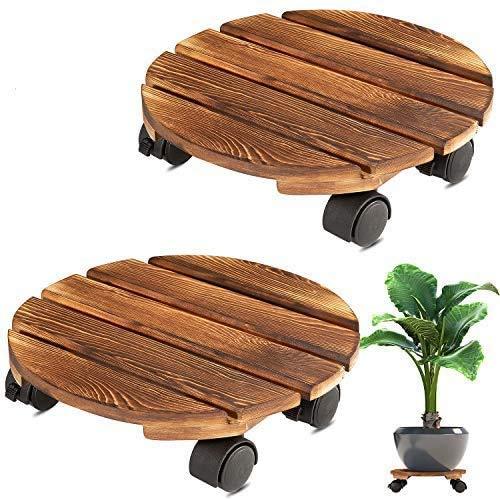 植木鉢台Yangbaga2個セット植木鉢 受け皿 可動式 丸い木の植木鉢トロリー 360°ロック可能なキャスター フラワーポット、ジューシーポット用 庭用(30*8cm)