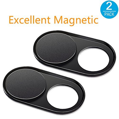 Funda de metal deslizante para cámara de MacBook Pro, Surfcase Pro, portátil, con cubierta ultrafina, de la marca CloudValley negro Magnet Black(2 Pack)