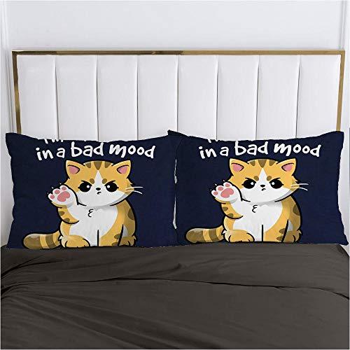 lhmlyl Bettdeckendigitaler Kissenbezug des 3D-Drucks, EIN Paar Neuer Karikaturen Der Heimtextilienbettwäsche-Gelbe Katze-Schwarz-P_60X70Cm 2St