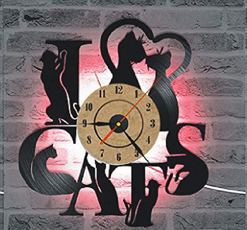 Reloj de pared hecho a mano para el hogar, creativo 3D, reloj de pared de vinilo retro, con forma de gato, reloj de pared con luz 2