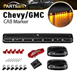 Partsam 3PCS Clear Lens Cab Roof Marker Lights 12LED Amber Top Assembly Light Compatible with Silverado/Sierra 1500 2500 3500 2500HD 3500HD 2007 2008 2009 2010 2011 2012 2013 2014