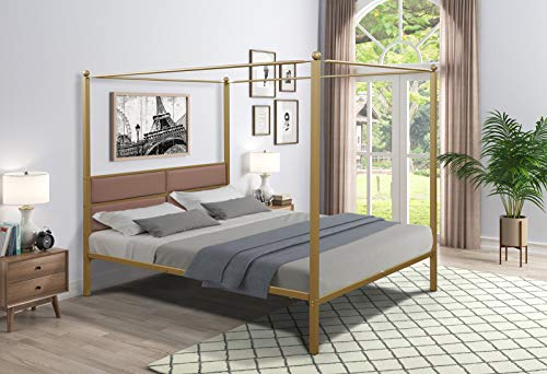 GUONTHO Queen Canopy Metal Upholstered Bed Frame with Four Posters (Brass)