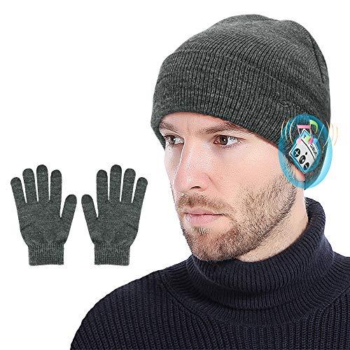 yidenguk Bluetooth Beanie Headphones V5.0 con Juego de Guantes con Pantalla táctil Gorro Bluetooth Manos Libres Beanie Audífonos Stereo Recargable Gorro de Bluetooth
