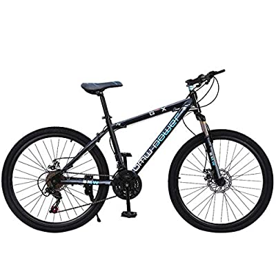 Stone Mountain 26 Inch 21-Speed ??Bicycle, Junior Aluminum Full Mountain Bike, Dual Disc Brakes, Full Suspension Non-Slip, Mountain Bikes for Mens, Women and Teens (Blue)