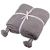 100prozent Baumwolle Kuscheldecke Tagesdecke Gestrickte überwurf Decke Ultra Weich Warm Wohn-Kuscheldecke für Baby Couch Bett Sofa Stuhl Auto Büro,130x180cm,4 Jahreszeiten Bettdecke (Grau, Fransendecke)