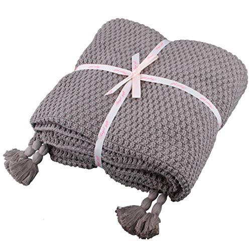 100% Baumwolle Kuscheldecke Tagesdecke Gestrickte überwurf Decke Ultra Weich Warm Wohn-Kuscheldecke für Baby Couch Bett Sofa Stuhl Auto Büro,130x180cm,4 Jahreszeiten Bettdecke (Grau, Fransendecke)