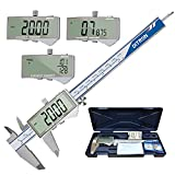 Digital Caliper 0-6'/150mm Electronic Micrometer Inch/Millimeter/Fraction Conversion Measuring Tool, Ruler Large LCD Screen, Inside/Outside Diameter Thickness Depth Step Gauge Stainless Steel