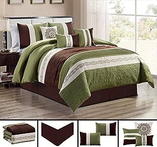 GrandLinen 7 Piece SAGE Green/Beige/Brown Paisley Embroidered Bed in a Bag Luxury Comforter Set Queen Size Bedding