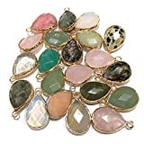 natural stone pendants, waterdrop shape faceted semi gemstone pendant random for necklace bracelet jewelry craft making 10 Pcs 14x22mm