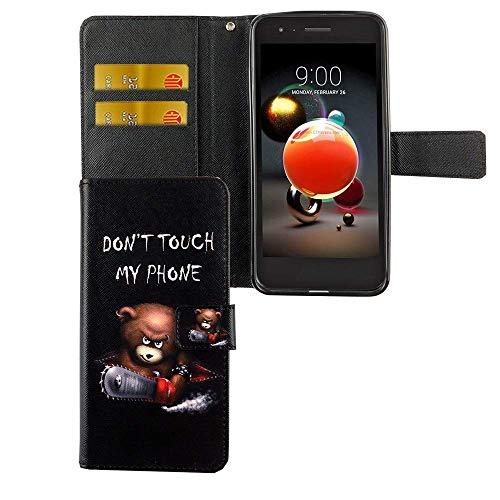 König Design Dont Touch My Phone Handy-Hülle geeignet für LG K8 / K9 2018 Bookstyle - Wallet Case Kunst-Leder Klapphülle mit Magnet-Verschluss & Kartenfach