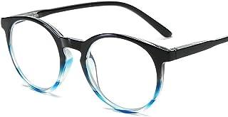 D&Y Ronde bril Retro Anti Blue Light leesbril Vrouwen Mannen Computer Bril Clear presbyopie Eyewear -7,29 (Frame Color : B...