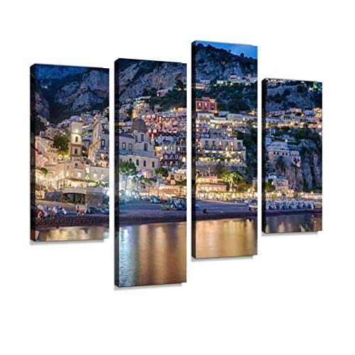 Evening in Positano amalfis and Pictures Canvas Wall Art Hanging Paintings Modern Artwork Abstract Picture Prints Home Decoration Gift Unique Designed Framed 4 Panel