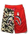 Bape Athletic Pants Shark Pattern Camo Bape Shorts Men Bape Sports Shorts (Red, S)