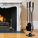 <span class='highlight'><span class='highlight'>GYMAX</span></span> 5 Piece Fireplace Tool Set, Iron Fireside Fire Tools with Poker, Tong, Shovel, Brush & Stand, Fireplace Companion Set for Indoor & Outdoor