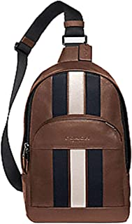 Coach Houston Pack With Varsity Stripe Saddle/Midnight Nvy/Chalk